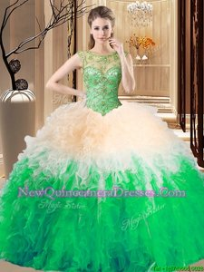 Dynamic Beading and Ruffles Quinceanera Gowns Spring Green Backless Sleeveless Floor Length