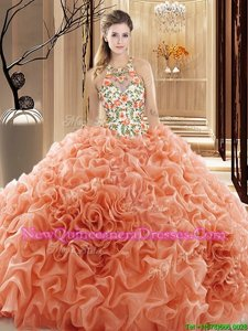 Eye-catching Organza High-neck Sleeveless Court Train Backless Embroidery and Ruffles Quinceanera Dresses inPeach