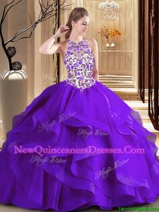 Luxurious Scoop Embroidery Ball Gown Prom Dress Purple Lace Up Sleeveless Brush Train