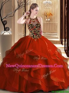 Noble Scoop Backless 15 Quinceanera Dress Orange Red and In for Military Ball and Sweet 16 and Quinceanera withEmbroidery and Ruffles Brush Train