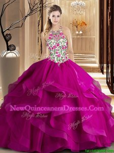 Sumptuous Scoop Sleeveless Sweet 16 Dress Brush Train Embroidery and Ruffles Fuchsia Tulle