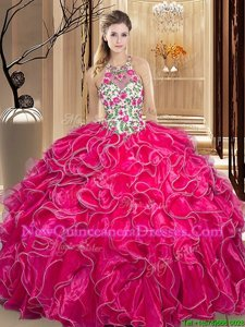 Perfect Scoop Sleeveless Organza Quinceanera Dresses Embroidery and Ruffles Backless