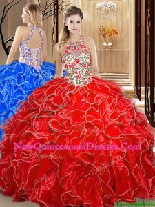 Exceptional Coral Red Organza Backless Scoop Sleeveless Floor Length Ball Gown Prom Dress Embroidery and Ruffles