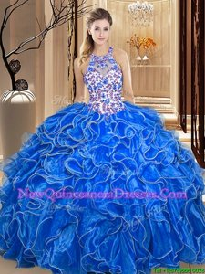 Great Royal Blue Sweet 16 Quinceanera Dress Military Ball and Sweet 16 and Quinceanera and For withEmbroidery and Ruffles Scoop Sleeveless Backless