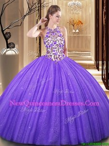 Pretty Scoop Sequins Lavender Sleeveless Tulle Backless 15 Quinceanera Dress for Military Ball and Sweet 16 and Quinceanera