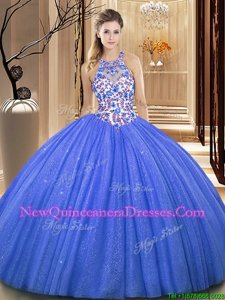 Romantic Blue Sleeveless Organza Lace Up Quinceanera Dresses for Military Ball and Sweet 16 and Quinceanera