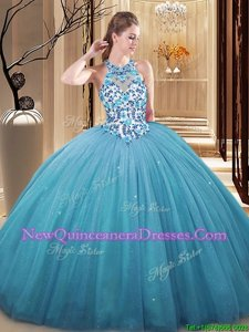 Inexpensive Floor Length Ball Gowns Sleeveless Baby Blue Sweet 16 Quinceanera Dress Lace Up