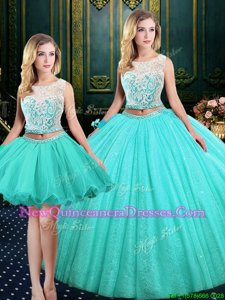 Attractive Three Piece Scoop Sleeveless Tulle and Sequined Floor Length Lace Up 15th Birthday Dress inBlue withLace and Sequins
