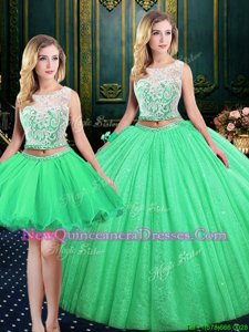 Traditional Three Piece Scoop Lace and Sequins Ball Gown Prom Dress Spring Green Lace Up Sleeveless Floor Length