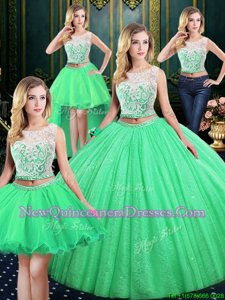 Best Selling Four Piece Sequins Ball Gowns Quince Ball Gowns Spring Green Scoop Tulle and Sequined Sleeveless Floor Length Lace Up