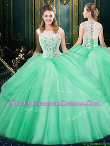 Fashion Apple Green Scoop Zipper Lace and Pick Ups Ball Gown Prom Dress Sleeveless