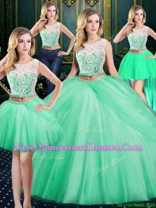 Adorable Four Piece Scoop Pick Ups Apple Green Sleeveless Tulle Zipper Quinceanera Gown for Military Ball and Sweet 16 and Quinceanera