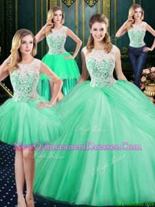Affordable Four Piece Scoop Sleeveless Lace and Pick Ups Zipper Sweet 16 Quinceanera Dress
