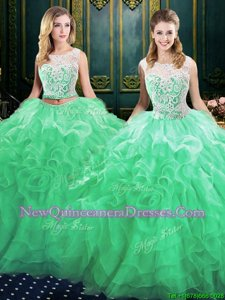 Scoop Lace Up Vestidos de Quinceanera Green and In for Military Ball and Sweet 16 and Quinceanera withLace and Ruffles Court Train