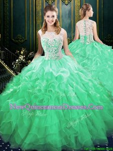 Green Organza and Tulle Zipper Scoop Sleeveless Quinceanera Gown Brush Train Appliques and Ruffles