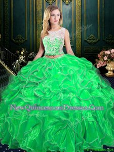 Sweet Spring Green Zipper Scoop Lace and Ruffles Ball Gown Prom Dress Organza Sleeveless