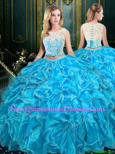 Inexpensive Baby Blue Sweet 16 Dress Military Ball and Sweet 16 and Quinceanera and For withLace and Ruffles Scoop Sleeveless Zipper