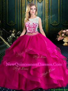 Exceptional Fuchsia Lace Up Scoop Lace and Ruffles Sweet 16 Dresses Tulle Sleeveless Brush Train