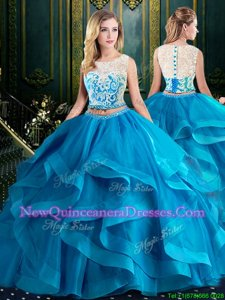 Amazing Scoop Sleeveless Brush Train Zipper 15th Birthday Dress Baby Blue Tulle