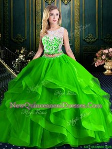 Dynamic Spring Green Two Pieces Scoop Sleeveless Tulle With Brush Train Zipper Lace and Ruffles Sweet 16 Dresses