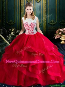 Square Lace and Ruffles 15 Quinceanera Dress Red Zipper Sleeveless With Brush Train