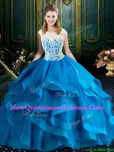 Superior Scoop With Train Zipper Sweet 16 Dresses Baby Blue and In for Military Ball and Sweet 16 and Quinceanera withLace Brush Train