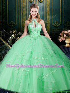Halter Top Sleeveless Sweet 16 Quinceanera Dress Floor Length Beading and Lace and Ruffles and Ruching Apple Green Tulle