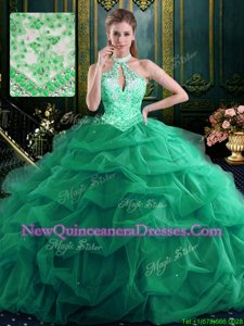 Clearance Halter Top Floor Length Lace Up Sweet 16 Dress Green and In for Military Ball and Sweet 16 and Quinceanera withBeading and Ruffles and Pick Ups