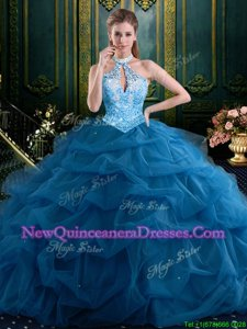 Halter Top Navy Blue Lace Up Ball Gown Prom Dress Beading and Pick Ups Sleeveless Floor Length