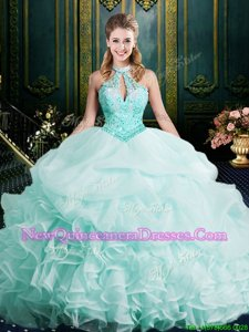 Spectacular Apple Green Quinceanera Gown Military Ball and Sweet 16 and Quinceanera and For withBeading and Lace and Ruffles Halter Top Sleeveless Brush Train Clasp Handle