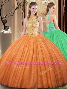 Enchanting Orange Backless High-neck Embroidery and Hand Made Flower Ball Gown Prom Dress Tulle Sleeveless