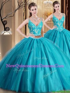 Gorgeous Teal Two Pieces Spaghetti Straps Sleeveless Tulle Floor Length Lace Up Beading and Lace and Appliques Sweet 16 Dress