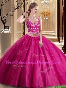 Flare Sleeveless Lace Up Floor Length Beading and Appliques Quince Ball Gowns