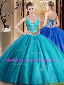 Comfortable Sleeveless Tulle Floor Length Lace Up Vestidos de Quinceanera inTeal withBeading and Lace and Appliques