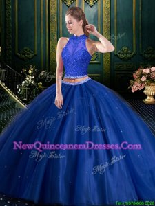 Modern Navy Blue Two Pieces Beading and Lace and Appliques Sweet 16 Dress Lace Up Tulle Sleeveless Floor Length
