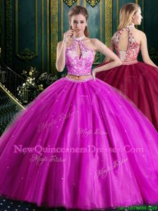 Simple Floor Length Fuchsia Sweet 16 Quinceanera Dress Halter Top Sleeveless Lace Up