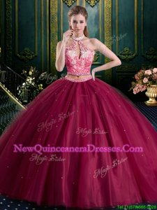 Customized Burgundy Tulle Lace Up Halter Top Sleeveless Floor Length Sweet 16 Dresses Beading and Lace and Appliques