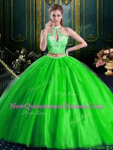 Fitting Halter Top Sleeveless Tulle Quinceanera Dress Beading and Lace and Appliques Lace Up