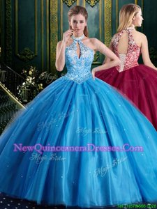 Nice Baby Blue Quinceanera Dress Military Ball and Sweet 16 and Quinceanera and For withBeading and Lace and Appliques Halter Top Sleeveless Lace Up