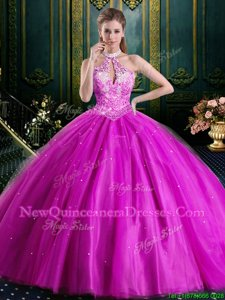 Halter Top Beading and Lace and Appliques Quinceanera Gown Fuchsia Lace Up Sleeveless Floor Length
