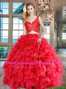 Latest Floor Length Two Pieces Sleeveless Red Sweet 16 Dresses Zipper