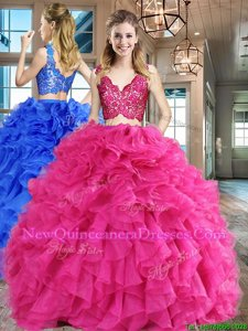 Floor Length Zipper Vestidos de Quinceanera Hot Pink and In for Military Ball and Sweet 16 and Quinceanera withLace and Ruffles