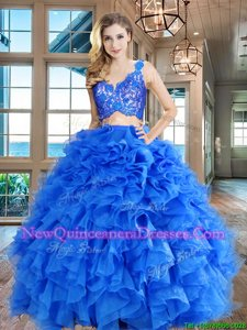 Blue Organza Zipper V-neck Sleeveless Floor Length Quinceanera Gown Lace and Ruffles
