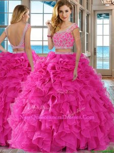 Dazzling Hot Pink Sweet 16 Dresses Military Ball and Sweet 16 and Quinceanera and For withBeading and Ruffles Scoop Cap Sleeves Backless