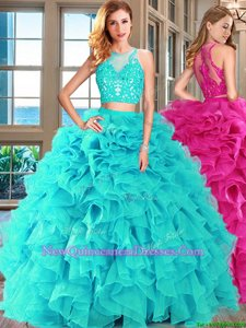 Inexpensive Aqua Blue Sweet 16 Dress Military Ball and Sweet 16 and Quinceanera and For withAppliques and Ruffles Scoop Sleeveless Lace Up