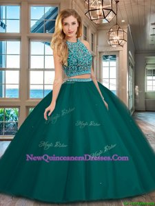 Best Selling Two Pieces Quince Ball Gowns Dark Green Scoop Tulle Sleeveless Floor Length Backless