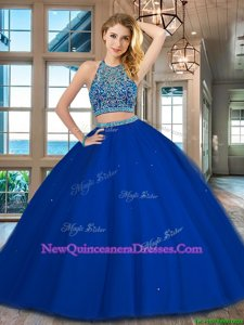 Superior Royal Blue Two Pieces Scoop Sleeveless Tulle Floor Length Backless Beading Quinceanera Gowns