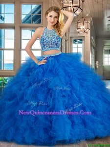 Comfortable Scoop Sleeveless Floor Length Beading and Ruffles Backless 15th Birthday Dress with Blue