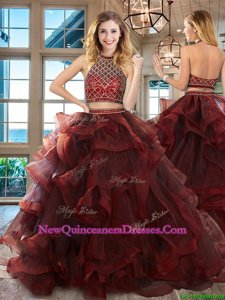 Smart Halter Top Burgundy Sleeveless Tulle Brush Train Backless Sweet 16 Dresses for Military Ball and Sweet 16 and Quinceanera