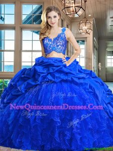 Hot Selling Lace and Ruffles and Pick Ups Quince Ball Gowns Royal Blue Zipper Sleeveless Brush Train